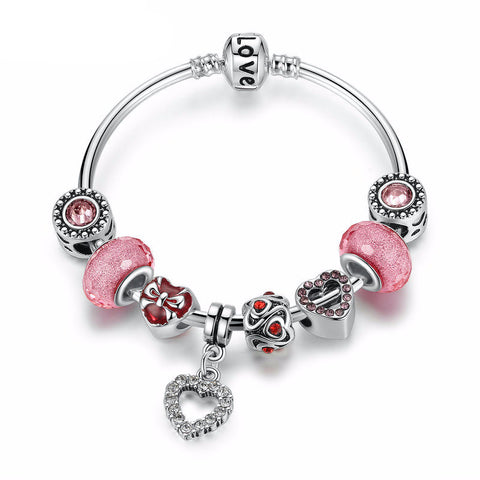 Silver Plated Charm Bracelet with Heart Pendant