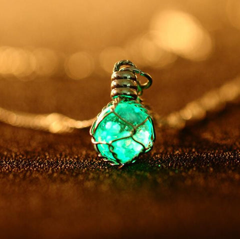 Illuminated Crystal Ball Pendant Necklace
