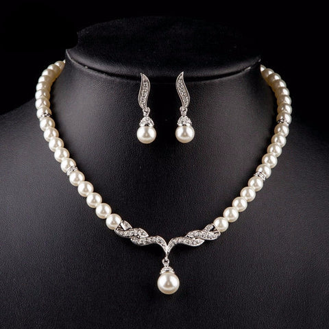 Platinum Plated Imitation Pearl Earrings and Necklace Jewelry Set