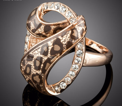 Rose Gold Plated Leopard Design Ring with Austrian Crystals