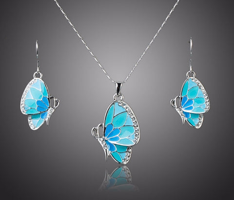 Platinum Plated Stellux Austrian Crystal Butterfly Drop Earrings and Pendant Necklace Set