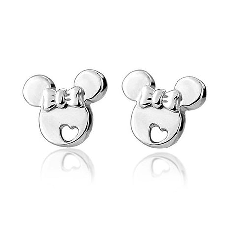 Sterling Silver Mouse Studs Earrings