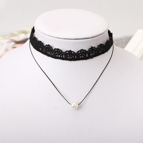 Multi-layer Lace Choker Necklace with Imitation Pearl Pendant