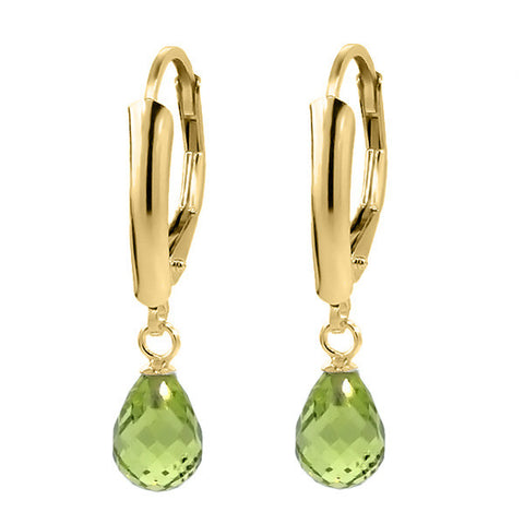 14K Yellow Gold Drop Earrings with Genuine Briolette Green Peridot