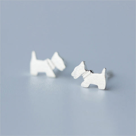Sterling Silver Cute Tiny Dog Stud Earrings