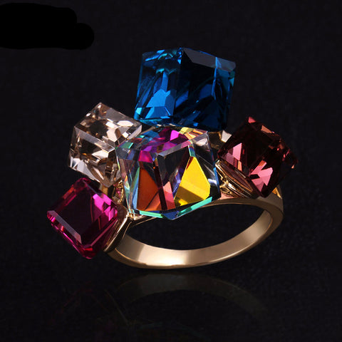 Gold Plated Statement Ring with Colorful Crystals