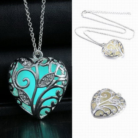 Glowing in the Dark Silver Plated Heart Pendant Necklace
