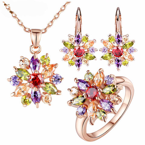 Colourful Rose Gold Plated Jewelry Set