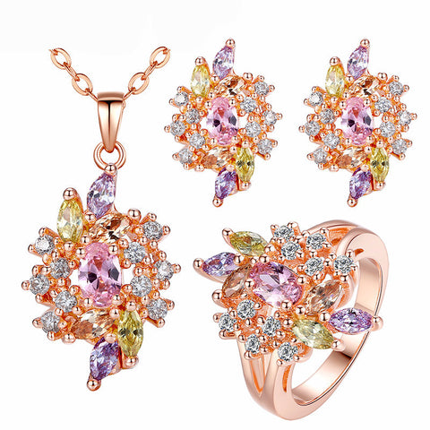 Luxury  Gold Plated Jewelry Set with Colorful Cubic Zirconia Crystals