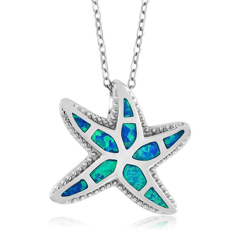 Gorgeous Created Opal Nautical Starfish Sterling Silver Pendant Necklace