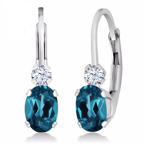 Sterling Silver Earrings with 1.18 Ct Natural London Blue Topaz