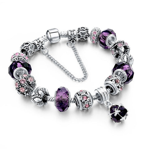 Charm Bracelet with Crystals and Colorful Murano Glass Beads