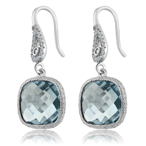 Sterling Silver Earrings with 11.00 Ctw Aquamarine