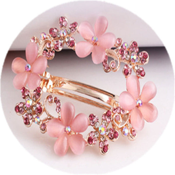 Round Hair Clip with Flowers and Crystals