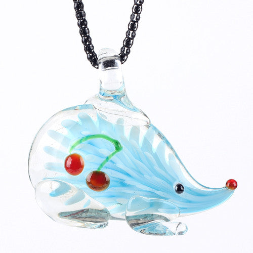 Murano Glass Hedgehog Pendant Necklace