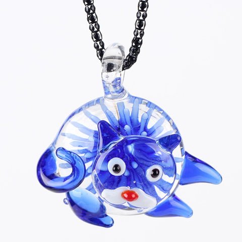 Kitty Cat Murano Glass Pendant Necklace