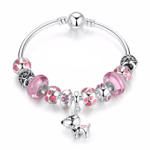 Lovely Charm Bracelet with Silver Dog Pendant