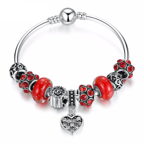 Silver Plated Red Murano Glass Beads Charm Bracelet