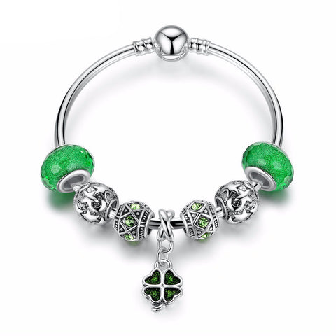Charm Bracelet with Green Clover Pendant