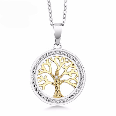 Two-Tone 925 Sterling Silver Tree Of Life Pendant Necklace With Diamond Accent