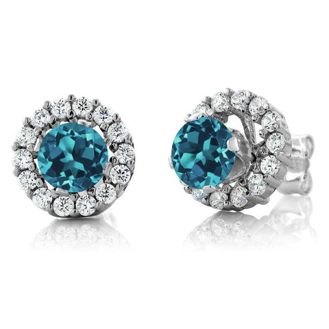 Sterling Silver Earrings with Natural London Blue Topaz