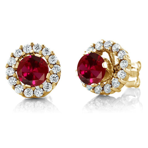 Yellow Gold Plated 925 Sterling Silver Earrings with Created Ruby