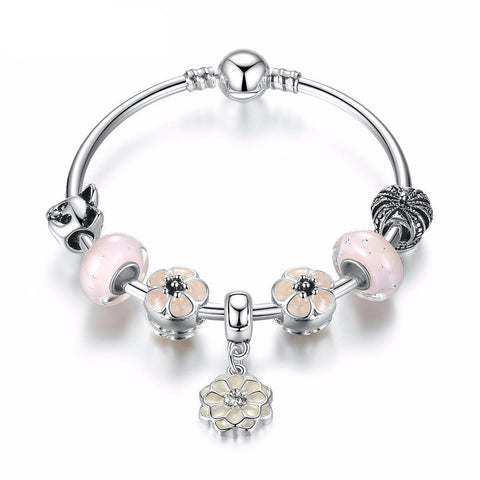 Trendy Silver Plated Bracelet with Flower Pendant & Pink Murano Beads