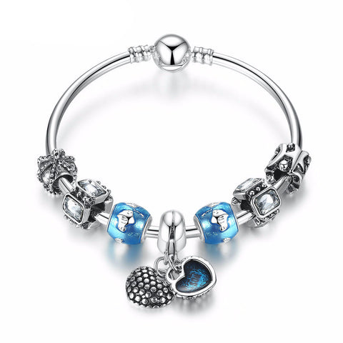 Silver Plated Charm Bracelet with Blue Beads