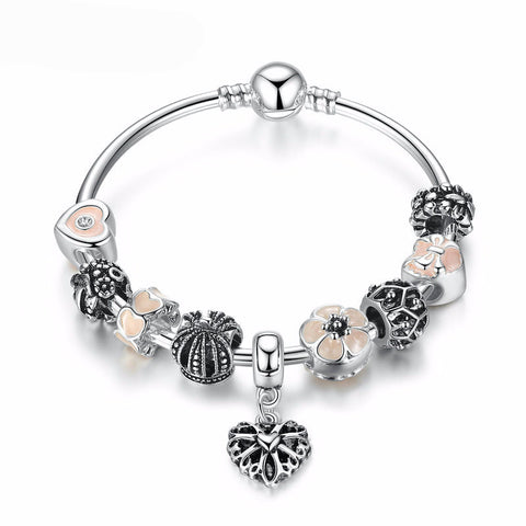 Silver Plated Charm Bracelet with Pink Flower Beads