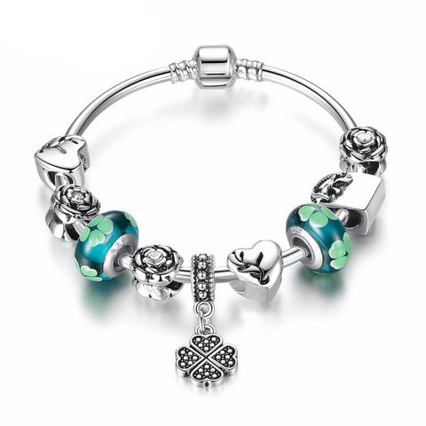 Silver Plated Charm Bracelet with Green Beads