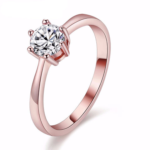 Silvertone or Rose Gold Plated Engagement Ring