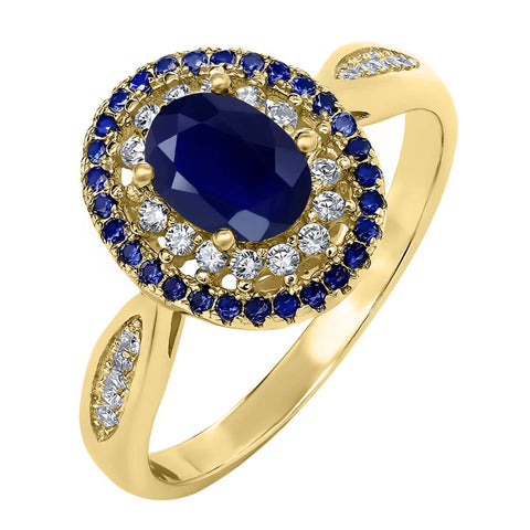 18K Yellow Gold Plated 925 Silver Ring with Natural Blue Sapphire