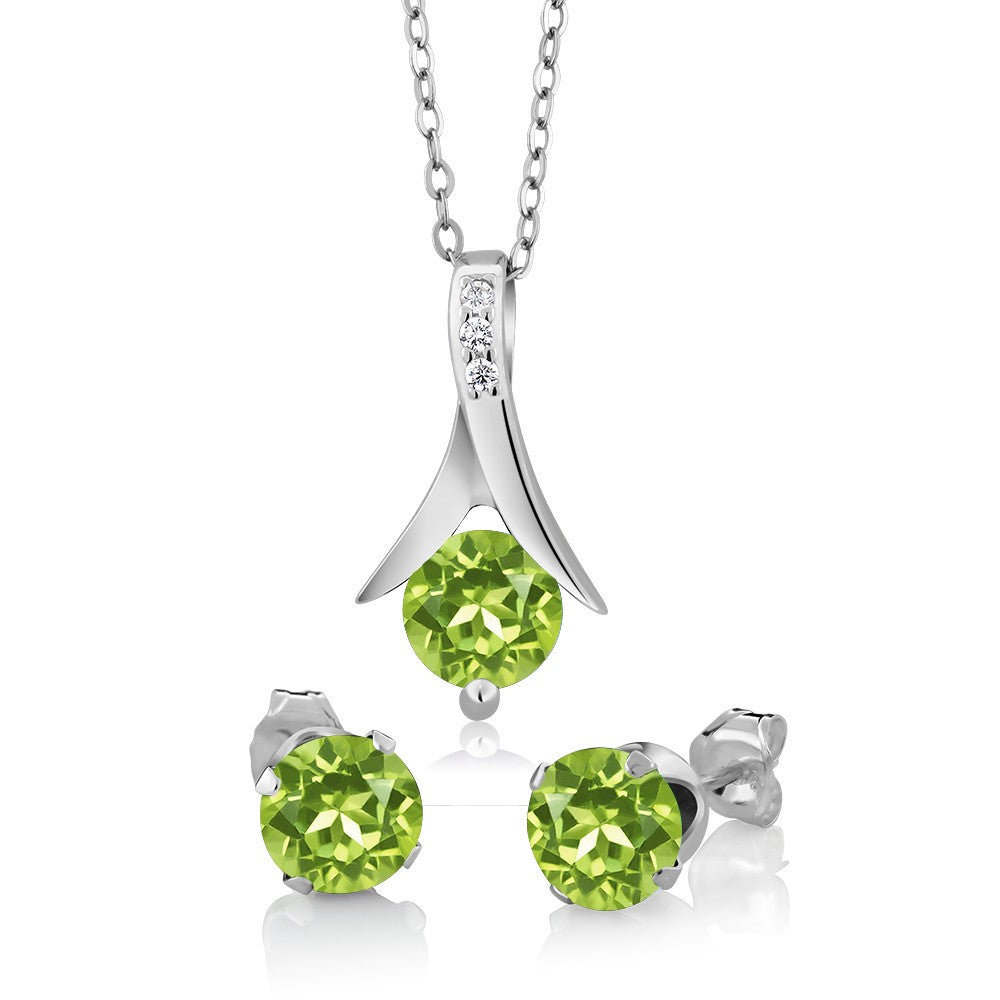 925 Sterling Silver Jewelry Set with Natural Green Peridot