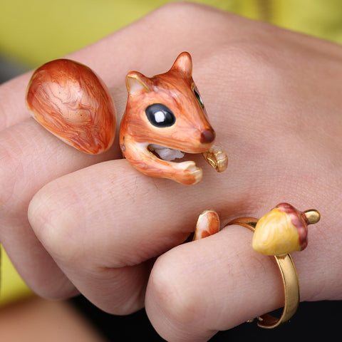 3-Piece Squirrel and Acorn Ring