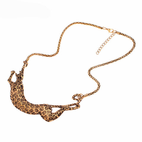 Statement Necklace with Leopard Pendant