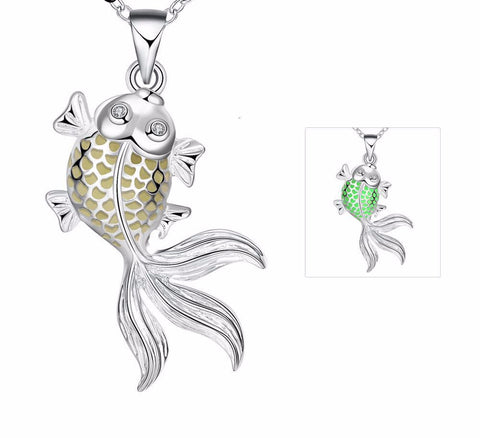 Glow In the Dark Fish Pendant Necklace