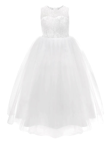 White First Communion Lace Dress For Girls