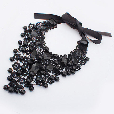 Black Rhinestone Statement Necklace