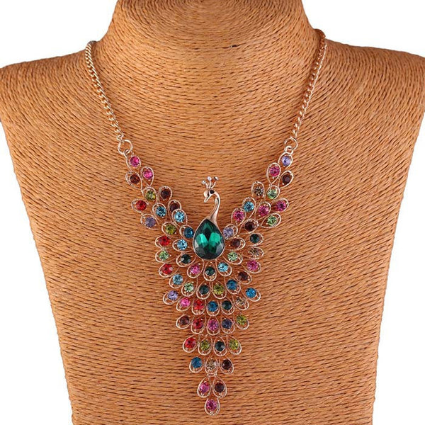 Peacock Statement Necklace with Rhinestones