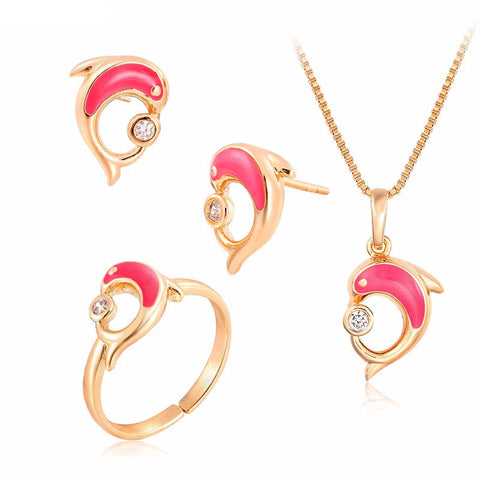 Pink Dolphin Jewelry Set