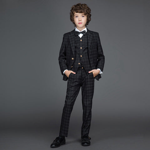 Gentleman Style Boys Suit Set (Blazer+Pants+Vest)