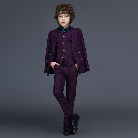 Gentleman Style Boys Suit Set (Blazer, Pants, Vest) 2-12 Yrs