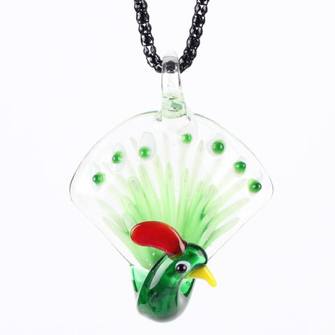 Murano Glass Peacock Pendant Necklace