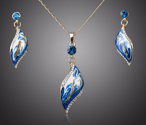 Blue Oil Painting Pattern Drop Earrings and Necklace Jewelry Set