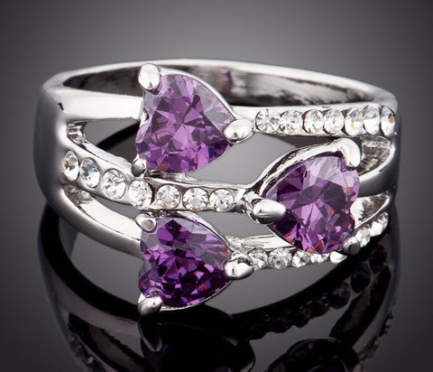 Platinum Plated Purple Heart Stellux Austrian Crystal Ring