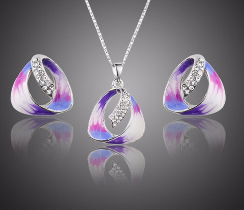 Unique Stellux Austrian Crystal Stud Earrings and Pendant Necklace Jewelry Set