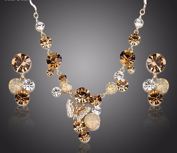 Gold Plated Stellux Austrian Crystal Jewelry Set