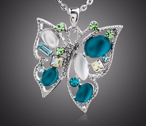 Platinum Plated Stellux Austrian Crystal Butterfly Pendant Necklace