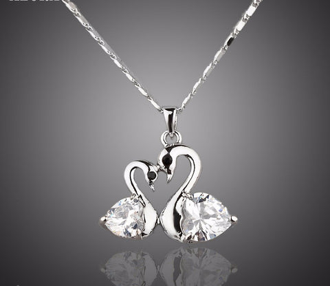 Platinum Plated Stellux Austrian Crystal Swan Pendant Necklace