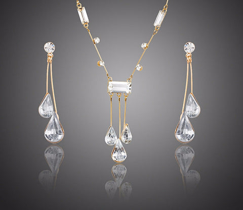 Elegant Gold Plated Stellux Austrian Crystal Water Drop Earrings and Pendant Necklace Jewelry Set